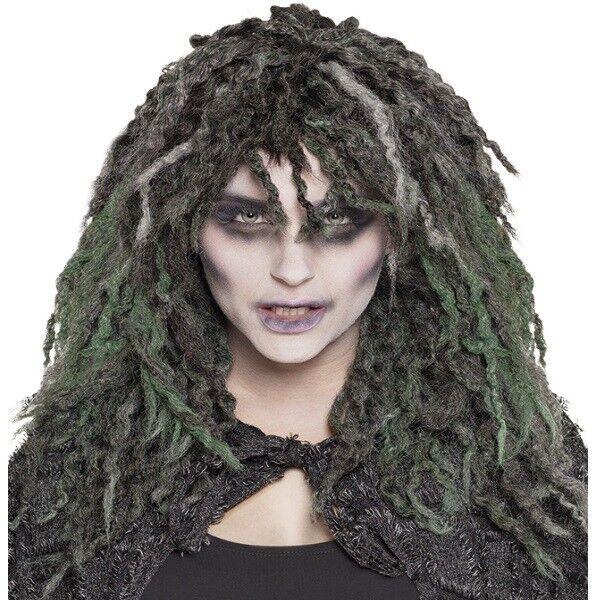 Halloween Perucke Swamp Zombie Witch Hexe Grau Grun Lang Locken