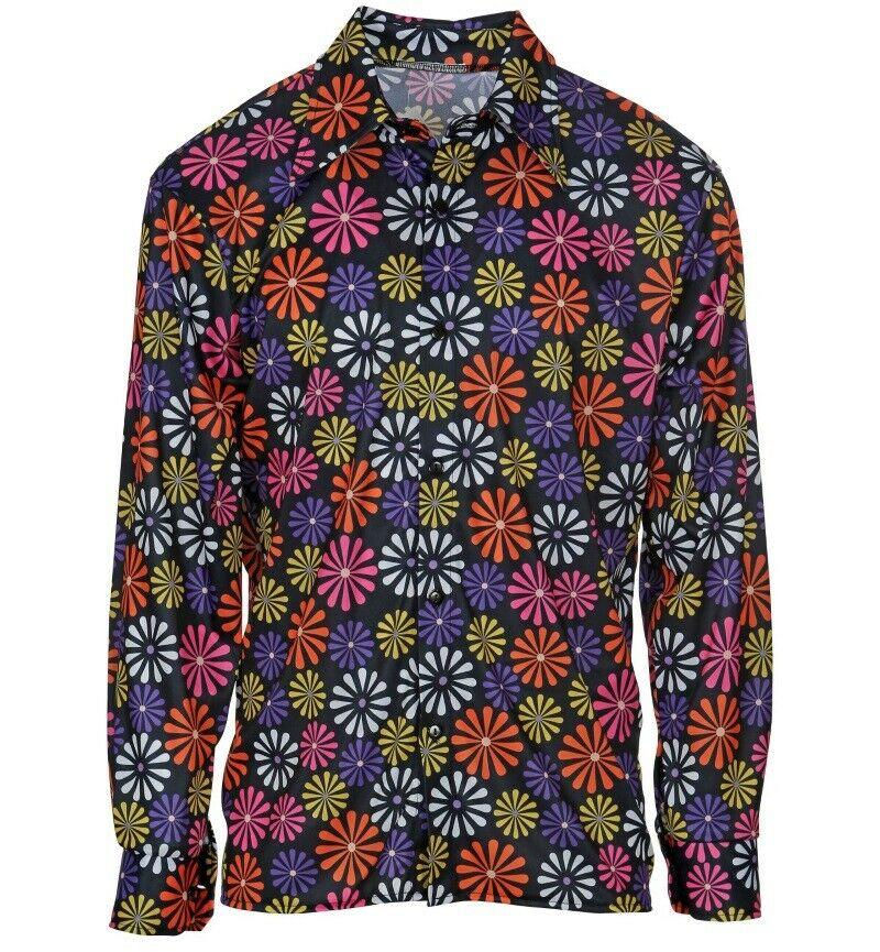 XXXL S buntes 70er Jahre Hippie Hemd für Herren Karneval Herren Party Gr