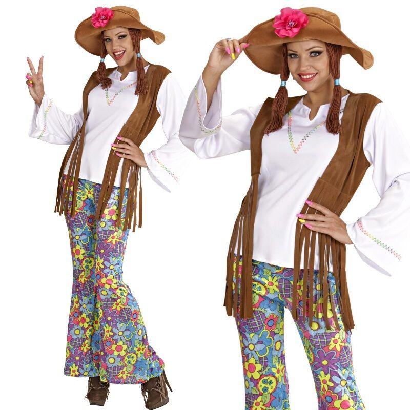 70er Jahre Hippie Damen Kostum Flower Power Mode Hippiekostum