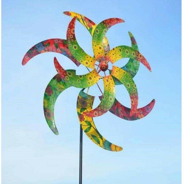 Pfau Metall doppelläufig Garten Deko 52 x 31,8 x 179 cm Windspiel Windrad