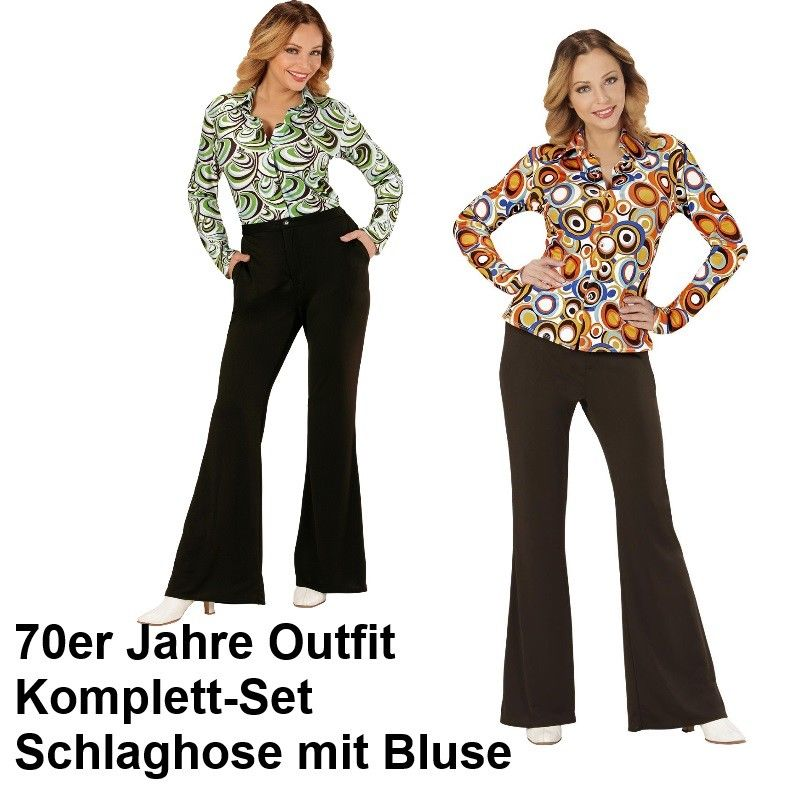 70er jahre damen schlaghose bluse schwarz kost m disco hippie schlager motto kaufen bei. Black Bedroom Furniture Sets. Home Design Ideas