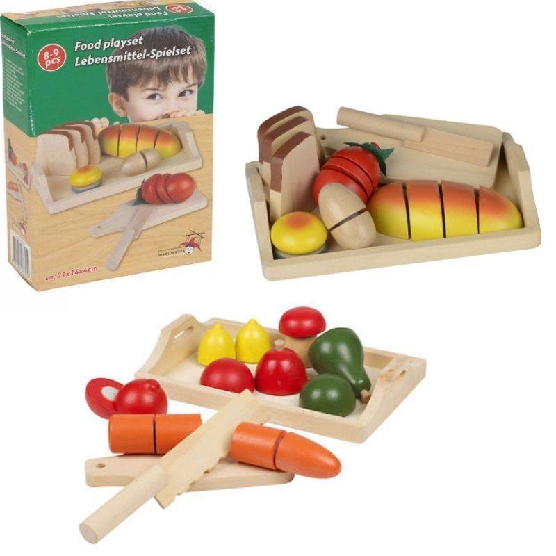 SCHNEIDESET Kinder 2 tlg. Holz Spielzeug Obst Brot Gemüse Kaufladen ...