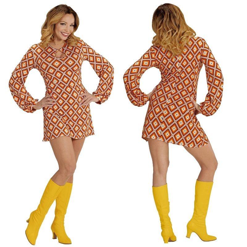 70er Jahre Groovy Lady Hippie Kleid Damen Kostum Melinda Flower