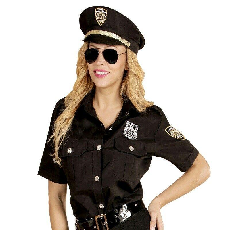Polizistin Damen Kostum Polizei Uniform Bluse Mit Hut Karneval