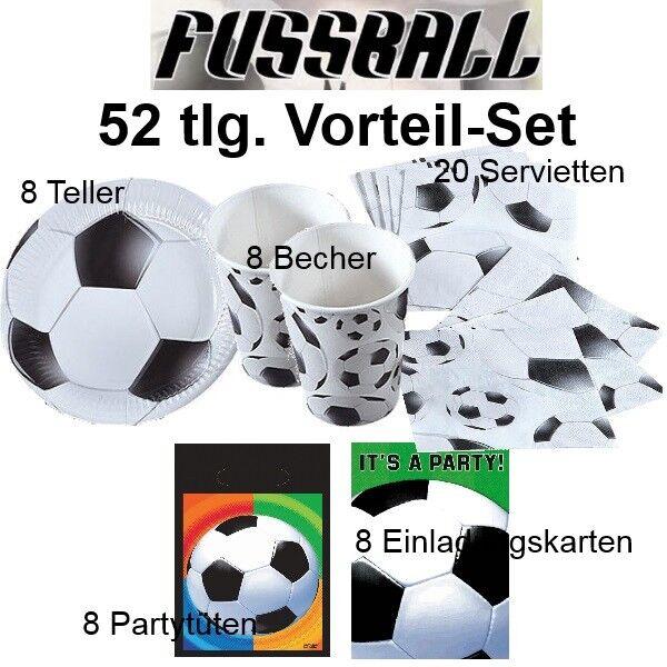 52 Tlg Vorteil Set Fussball Kinder Geburtstag Party Deko Teller Becher Serviett