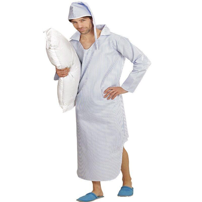 e1e025750e SCHLAFWANDLER Schlafmütze langes Nachthemd + Zipfelmütze Herren Kostüm  Karneval