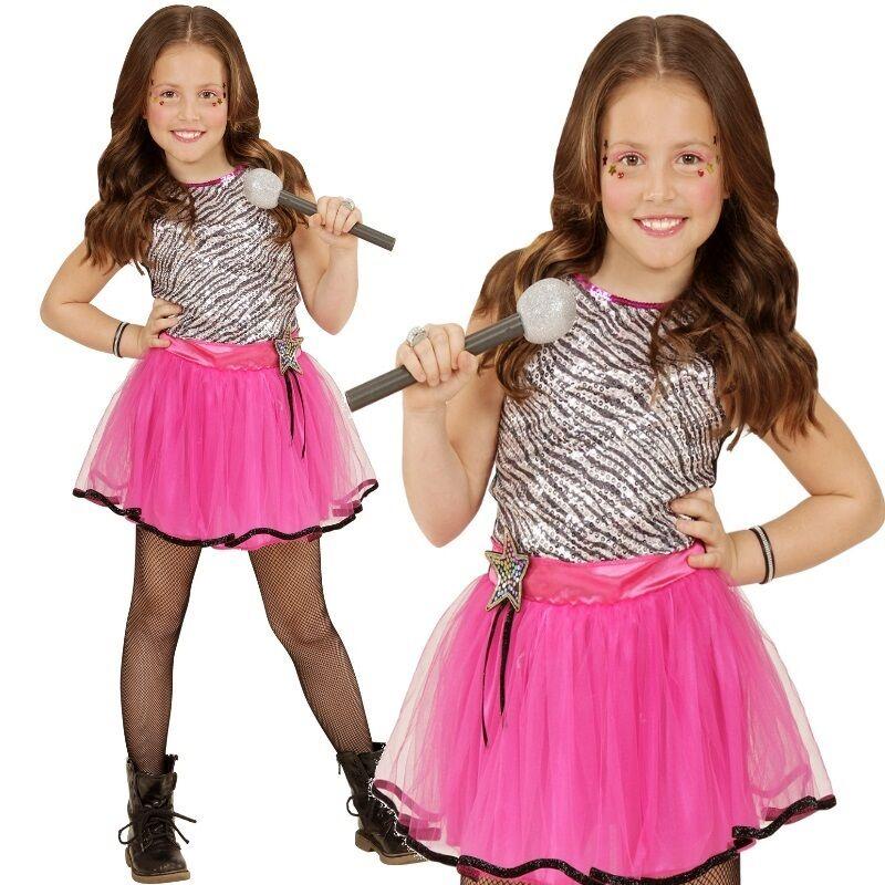 Mädchen Kostüm Kleiner Popstar Kinder Kleid Karneval Fasching Gr116
