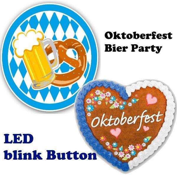 Oktoberfest Led Blink Button Herz Brezel Bierkrug Anstecker Oder Als