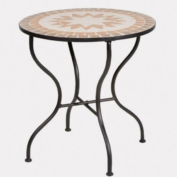 Mosaik Tisch O 60cm Finca Garnitur Bistro Gartenmobel Gestell Eisen