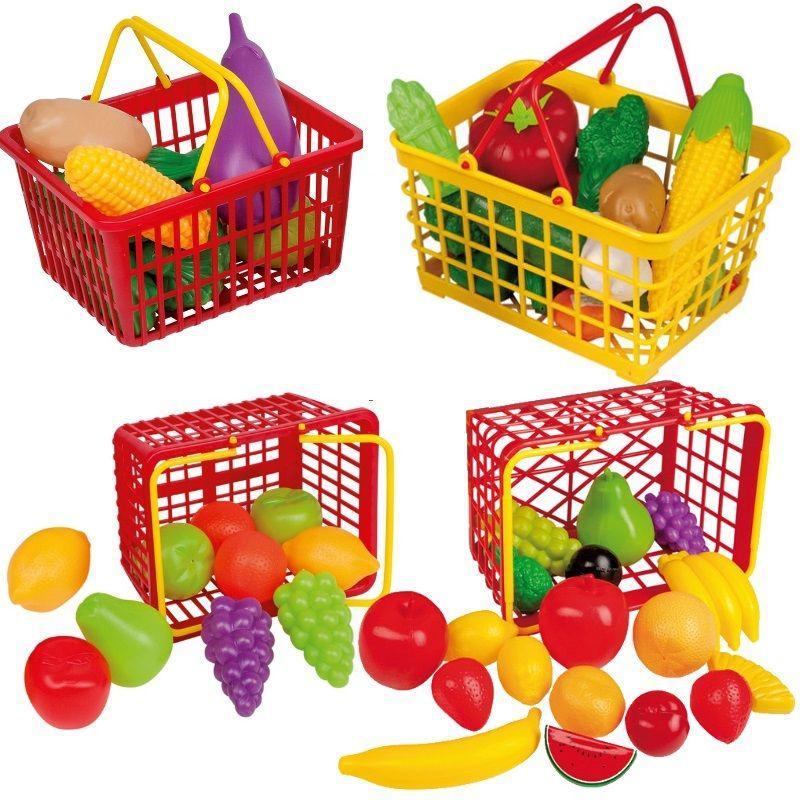 EINKAUFSKORB mit Zubehör für Kaufladen Kinder Küche Spielzeug Obst ...