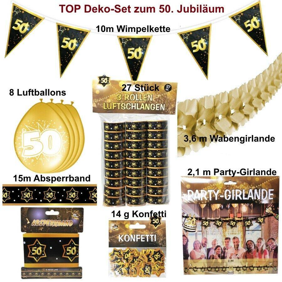 Großes Deko Set 50 Geburtstag Goldene Hochzeit Jubiläum 50 Jahre Deko Set 7 Yategocom
