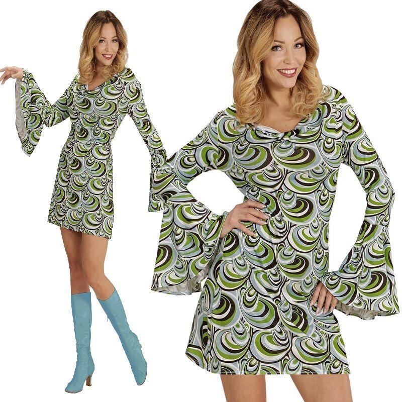 Groovy Girl 34 36 S Hippie Damen Kostum 60er 70er Jahre Kleid Flower