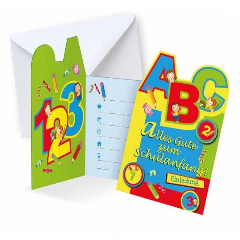 Einladung Einschulung 6 Einladungskarten zum Schulanfang Umschlag für Mädchen