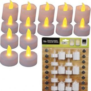 16 LED TEELICHTER 2 Größen weiß flackernd inkl. Batterien LED Lichter