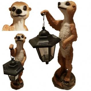 Garten Figur Erdmännchen mit Solar Lampe Haus & Garten Deko lebensecht #4794