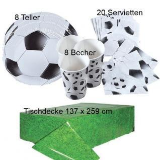 FUSSBALL Party Kinder Geburtstag - Teller Becher Servietten Tischdecke - 37 tlg