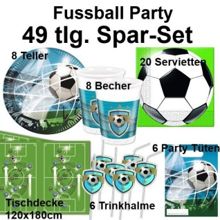 49 tlg. Spar-Set FUSSBALL Taktik Kinder Geburtstag Party Set - Teller Becher