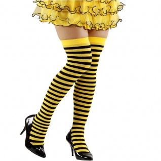 Überkniestrümpfe BIENE Gr. XL Strümpfe gelb schwarz gestreift Disco Party #2076