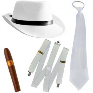 WOW 4-tlg. Mafia Kostüm Set Deluxe Gangster - Weiss - Karneval 20er Motto Party