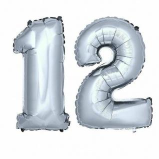 XXL Folienballon Zahlenballon Hochzeit Jubiläum Geburtstag SILBER 80cm Zahl 12