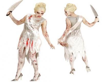 Horror MISS WORLD ZOMBIE Damen Kostüm 46/48 (XL) Untote blutiges Kleid Halloween