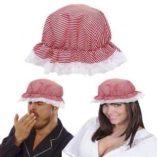 NACHTHAUBE SCHLAFHAUBE rot-weiß gestreift Nachtmütze Schlafmütze Mütze Hut Magd
