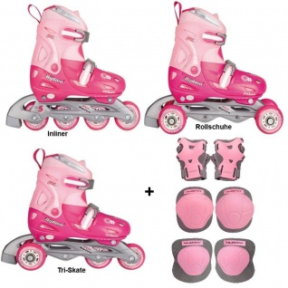 3 in1 Kinder Inlineskates/Triskates/Rollschuhe Pink verstellbar + Schützer Set