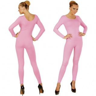 Einteiler Damen Body Overall Jumpsuit lang Sport rosa, Langarm Gr. S/M M/L, XL
