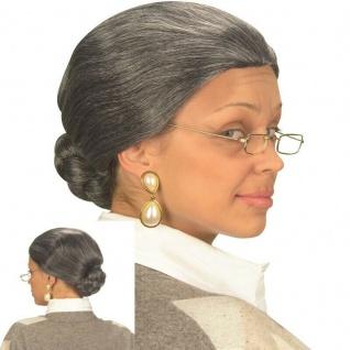 GRAUE OMA PERÜCKE MIT DUTT Großmutter Omi Gouvernante Damen Kostüm Party #v0873