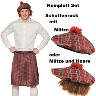 KILT SCHOTTENROCK ROT KARIERT MIT KAPPE und Haar oder ohne - Schotte Hut Mütze
