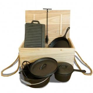 9 teiliges Kochtopf Set Dutch Oven aus Gusseisen in Holzkiste Pfanne Kessel