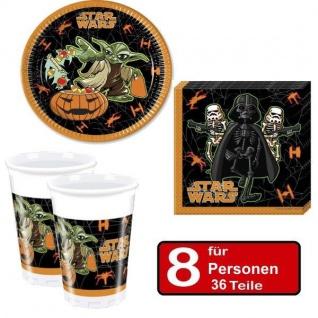 36 tlg. Halloween Party Set STAR WARS -Teller Becher Servietten für 8 Personen