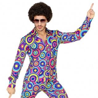 70er Disco Schlager Herren Hemd -bublles blau - Hippie Motto-Party Schlagermove