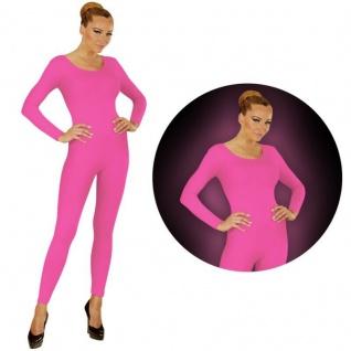 Einteiler Damen Body Overall Jumpsuit lang Sport neon pink, Langarm Gr. M/L, XL