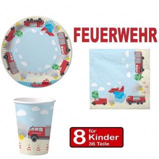 Party Set FEUERWEHR - Teller Becher Servietten - 8 Kinder Geburtstag DH-Kzpt