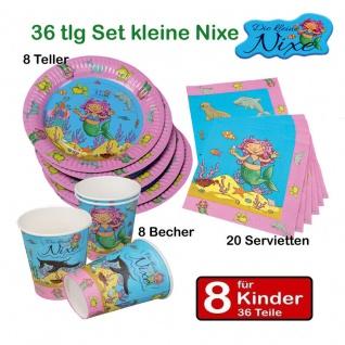 Meerjungfrau Kleine Nixe 36 tlg Partyset für 8 Kinder -Teller Becher Servietten