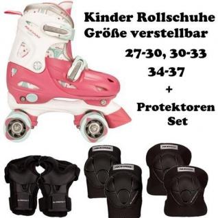 KINDER ROLLSCHUHE + SCHÜTZER SET Girls Skates Rosa Größen verstellbar