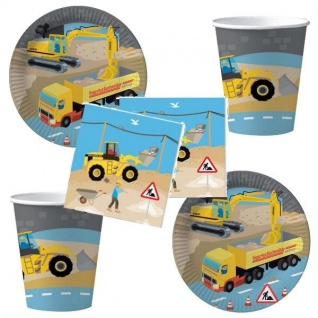 BAUSSTELLE Party Set - Becher Servietten Teller - Kinder Geburtstag 52tlg DHK
