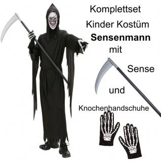 TOP SET Kinder Kostüm Tod Gr. 128 Sensenmann mit Sense und Handschuhe Halloween