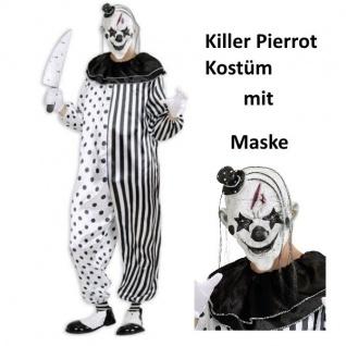 KILLER CLOWN Kostüm Overall MIT MASKE Pierrot Halloween Psycho Horror S, M, L, XL