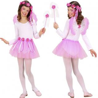 4 tlg. FEE Kostüm Set Mädchen Tüllrock Flügel Haarreif Zauberstab Rosa #935 FEEN