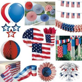 USA Amerika - Stars & Stripes - PARTY DEKO Teller Becher Servietten Ballons