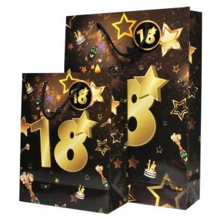 """2 St. Geburtstag Geschenk Taschen Set """" 18"""" Schwarz Gold Tüte Jubiläum Verpackun"""