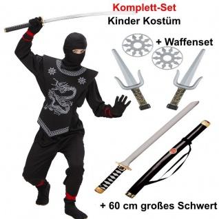 Ninja Kostum Kinder Jungen Schwarz Mit Schicker Rustung Schwert