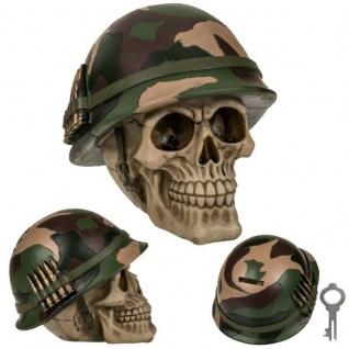 Spardose TOTENKOPF mit ARMY HELM Skull Schädel Biker Sparschwein Halloween #5759