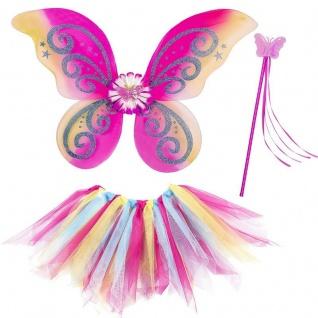3tlg. Feen Kostüm Set Bunt - Tüllrock Flügel Zauberstab - Schmetterling Set