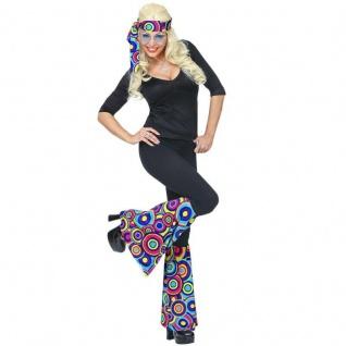 STIRNBAND UND STULPEN Damen Kostüm Set 70er Hippie Flower Power - Bubbels blau