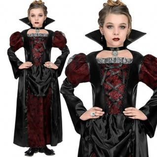 Edles Königin Vampir Vampirin Kinder Mädchen Kostüm - Kleid - Halloween 128-158