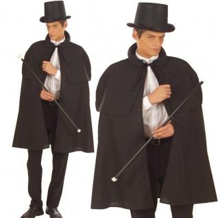 SCHWARZER GEFÜTTERTER UMHANG MIT PELERINE Lord Herren Kostüm Mantel Zauberer #57