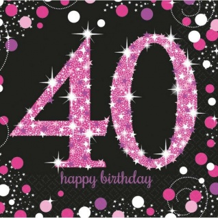40. Geburtstag Party Motiv Servietten schwarz rosa pink Feier Tisch Deko #0603